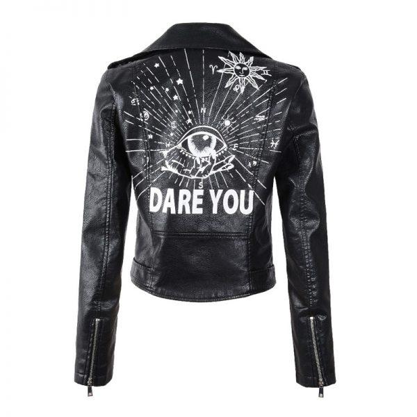 Punk Gothic Egirl Faux Soft Leather Jacket 2