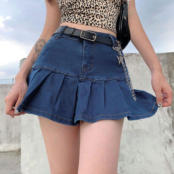 Y2K Denim Mini Pleated Skirt  1