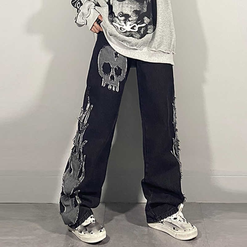 Egirl Harajuku Goth Jeans with skull and flame decor 43