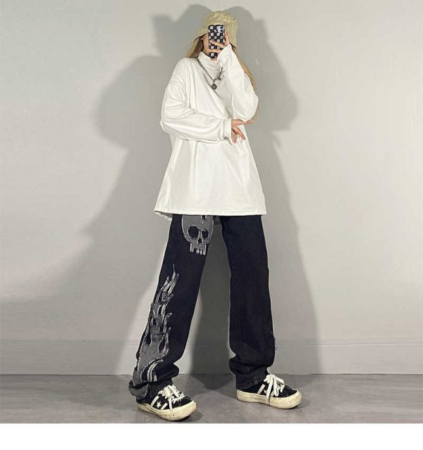 Egirl Harajuku Goth Jeans with skull and flame decor 12
