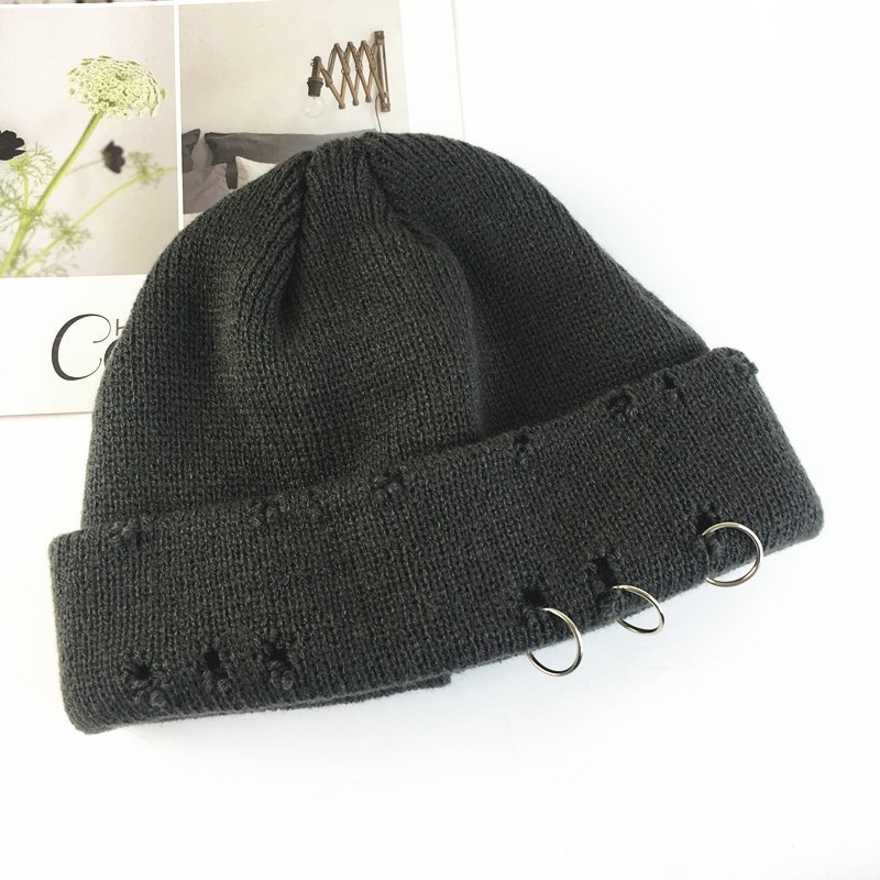 Harajuku Grunge Winter Knitted Hat with Holes, rings and pins 48