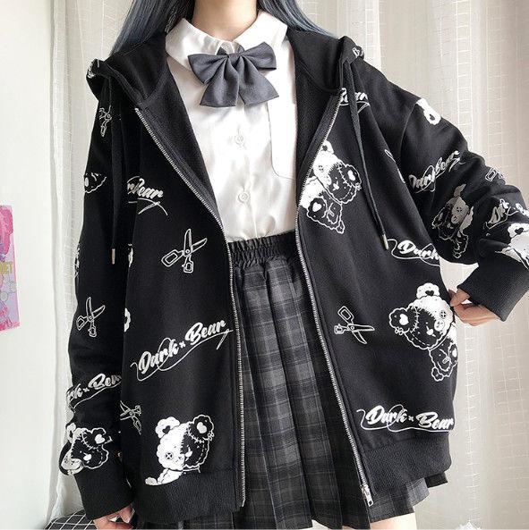 Harajuku Egirl Gothic Hoodies with bear print 45