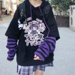 Harajuku kawaii anime print hoodie 1