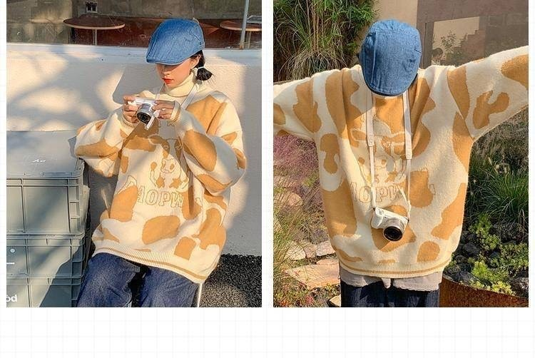 Egirl Harajuku pullover with a cow print 56