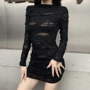 Egirl Gothiс Punk Mini Dress with holes 3