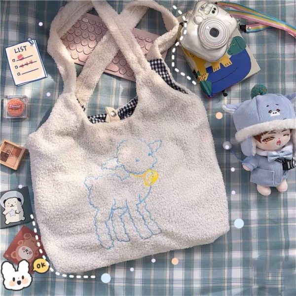 Soft girl Egirl Harajuku Soft Shoulder Bag with cute animal embroidery 2
