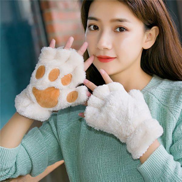Plush Cat Paw Fingerless Mittens 2