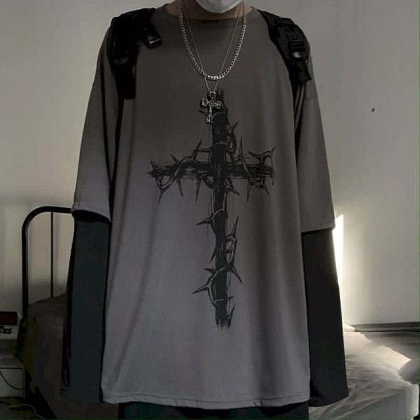 T-shirt Cross of Thorns with fake two-piece long-sleeves 2