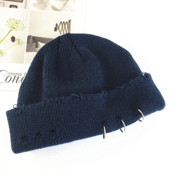 Harajuku Grunge Winter Knitted Hat with Holes, rings and pins  2