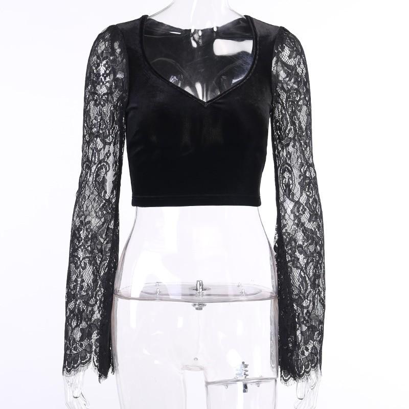 Egirl Gothic Velvet Lace Top 47