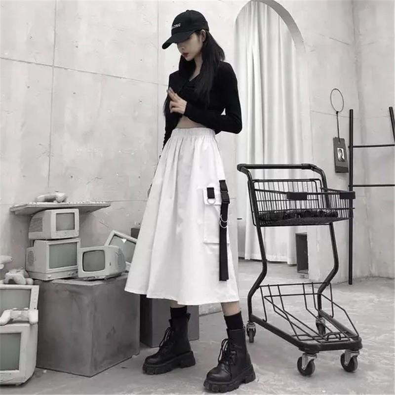 Harajuku Punk High Waist Loose A-line Cargo Skirts with chain 55