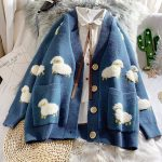 Cute Knitted Loose Cardigan with sheep 1