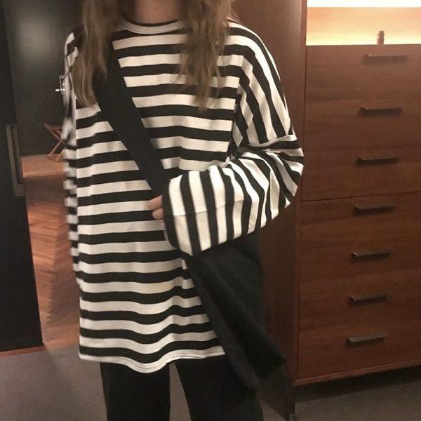 Egirl Harajuku Oversized Striped T-shirt 1