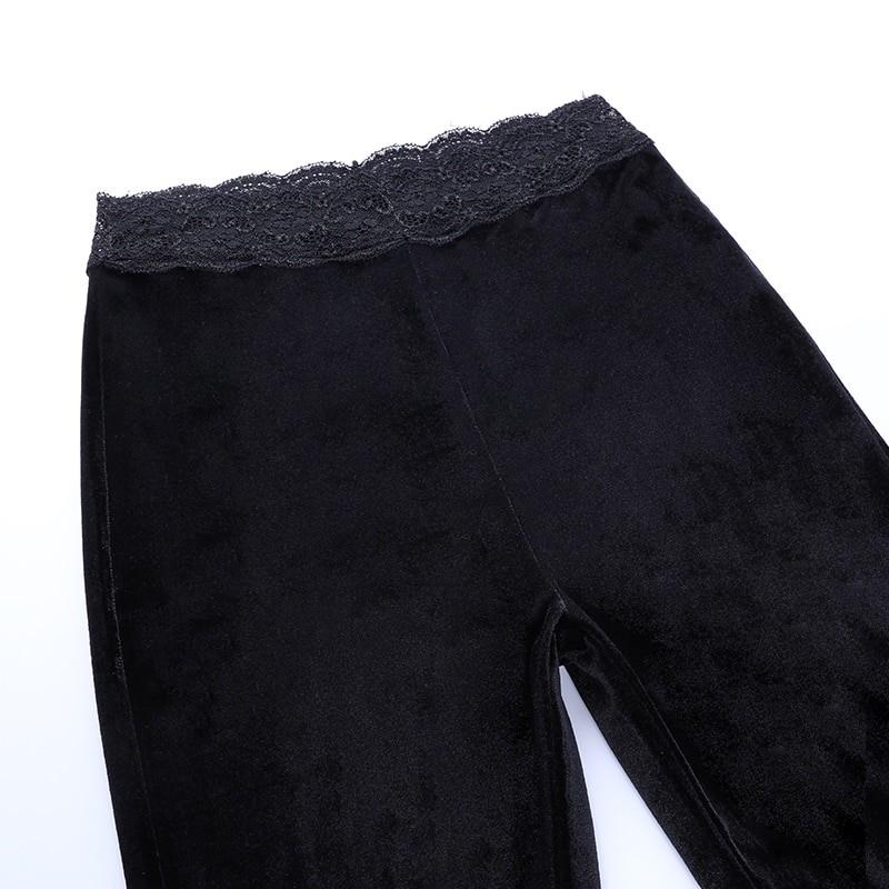 Egirl Gothic Aesthetic Flared Velvet Pants with Lace 50