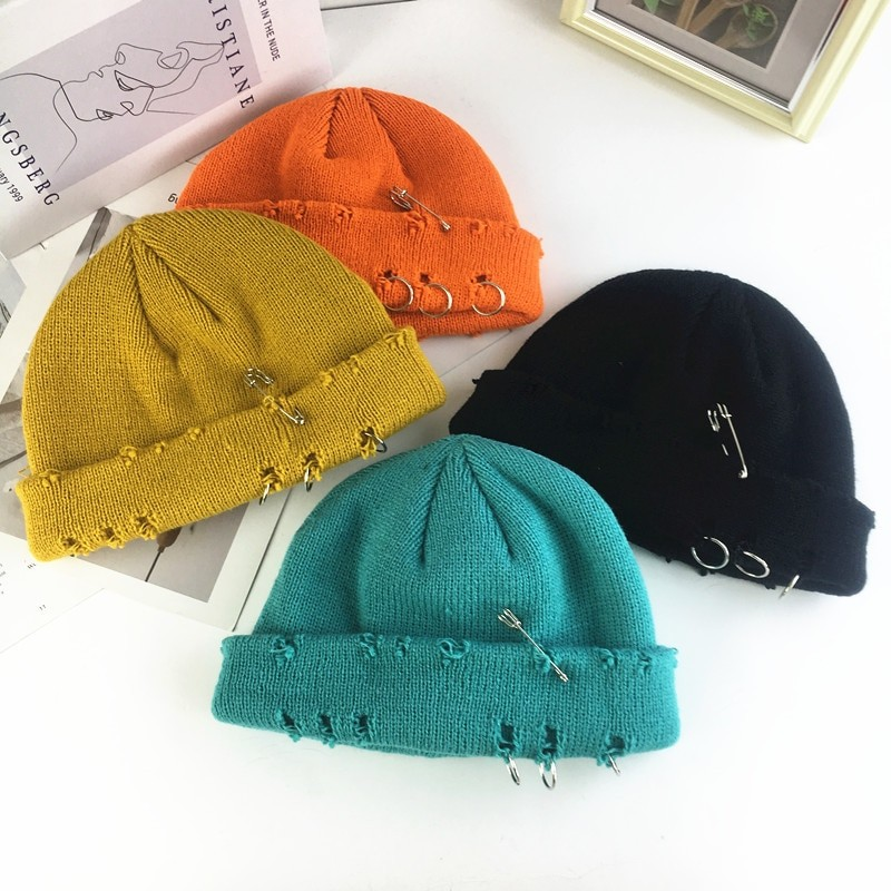 Harajuku Grunge Winter Knitted Hat with Holes, rings and pins 61
