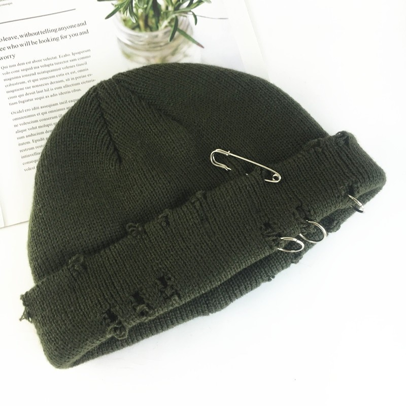 Harajuku Grunge Winter Knitted Hat with Holes, rings and pins 62