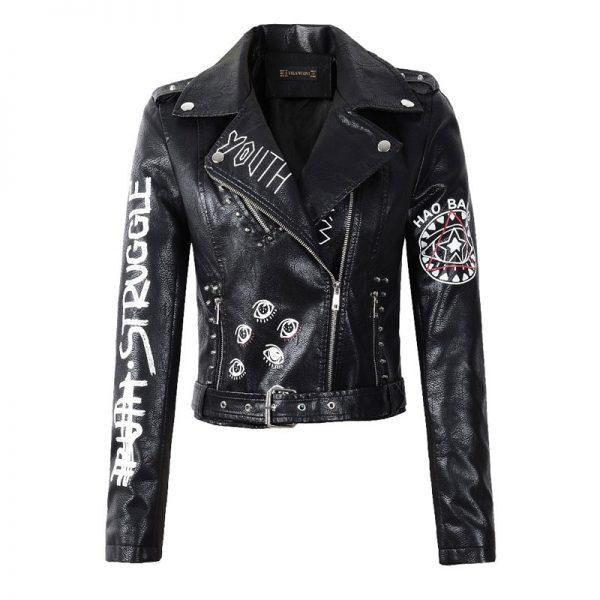 Punk Gothic Egirl Faux Soft Leather Jacket 1