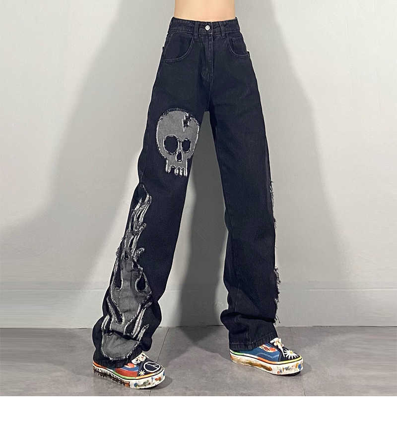 Egirl Harajuku Goth Jeans with skull and flame decor 42