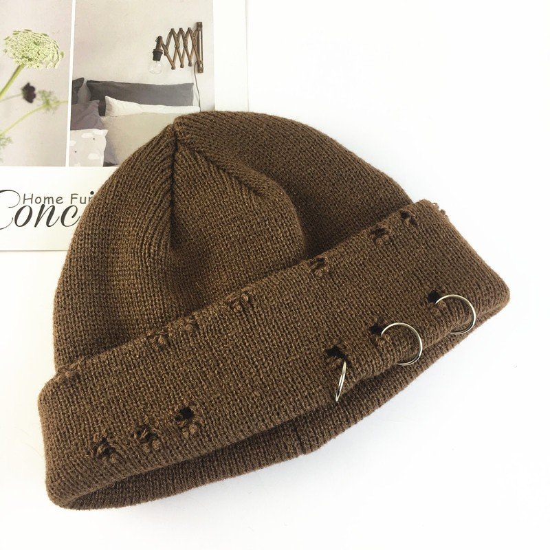 Harajuku Grunge Winter Knitted Hat with Holes, rings and pins 47