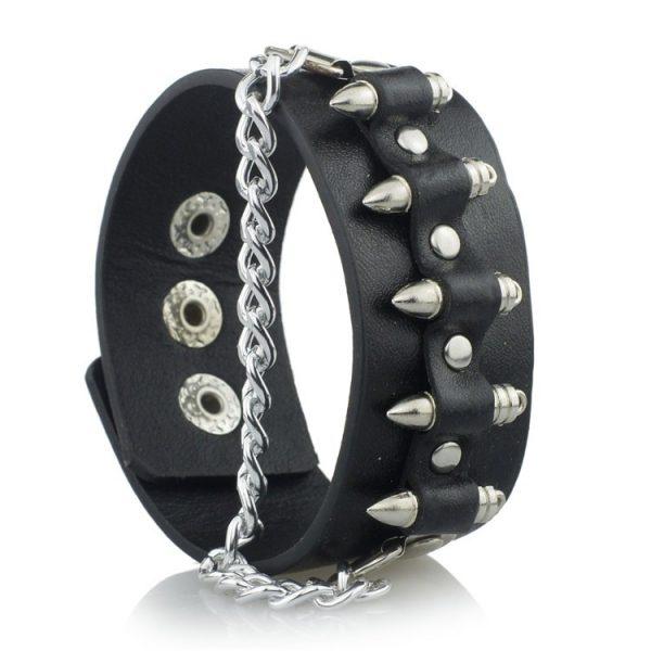 Eboy Egirl Gothic Punk  Leather Bracelet with Bullet Shape decor and Chain 4