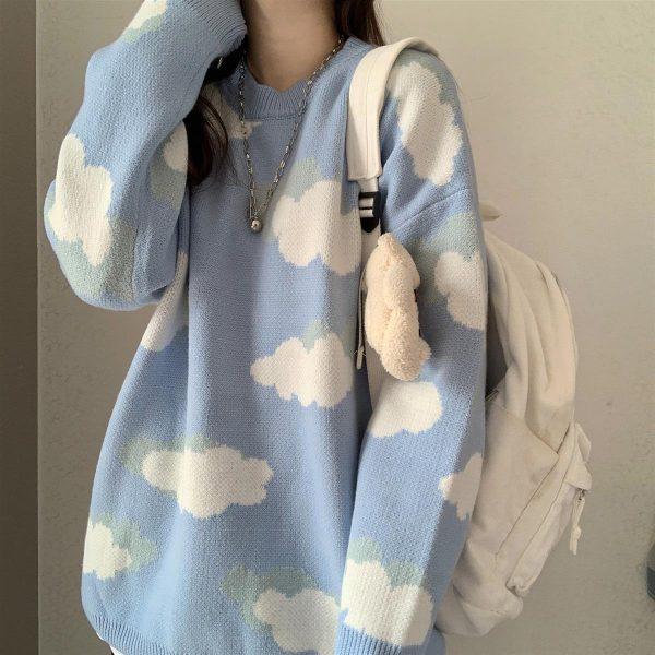 Harajuku Kawaii Pullovers with cloud print long or short sleeves 2