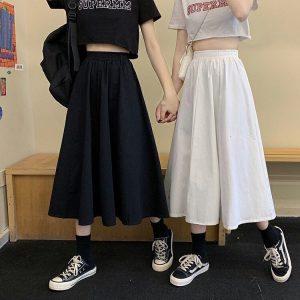 Harajuku Long Skirts A-line with elastic band 12