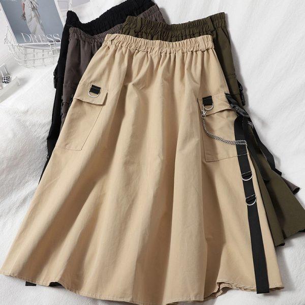 Harajuku Punk High Waist Loose A-line Cargo Skirts with chain 4