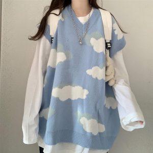 Harajuku Kawaii Pullovers with cloud print long or short sleeves 4