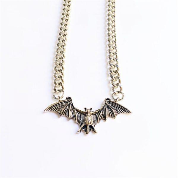 Gothic Egirl Eboy Bat Chain Necklace 2