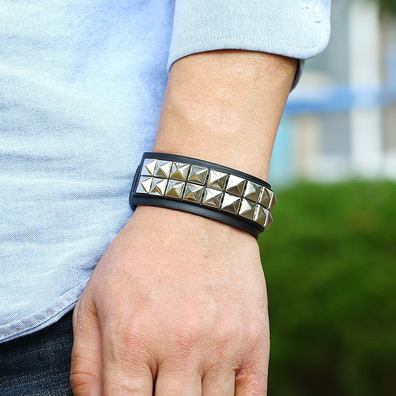 Egirl Eboy Punk Leather Wristband with Metal Rivets 46