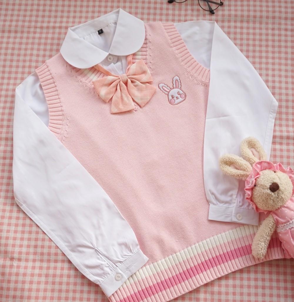 Egirl Soft girl Harajuku Pink vest with Small rabbit Embroidery 43