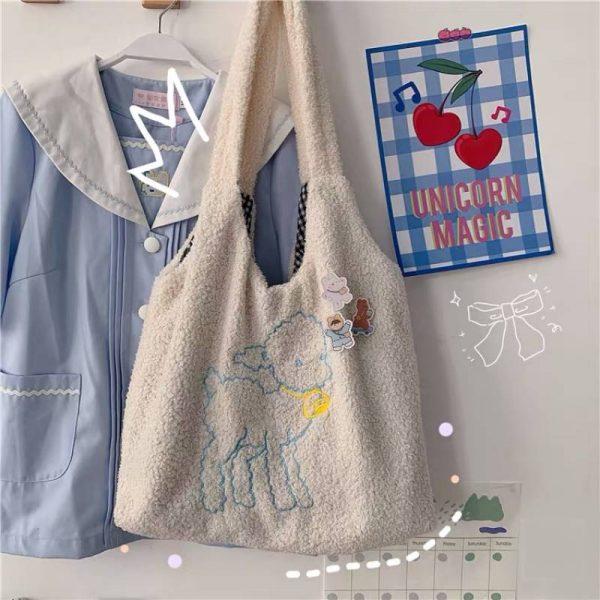 Soft girl Egirl Harajuku Soft Shoulder Bag with cute animal embroidery 4