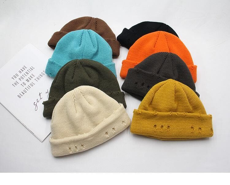 Harajuku Grunge Winter Knitted Hat with Holes, rings and pins 51
