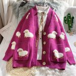 Cute Knitted Loose Cardigan with sheep 2