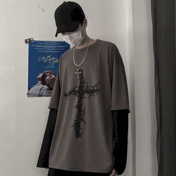 T-shirt Cross of Thorns with fake two-piece long-sleeves 5