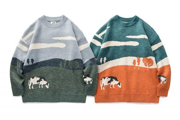 Eboy Egirl Y2K Vintage Cows print Sweaters 5