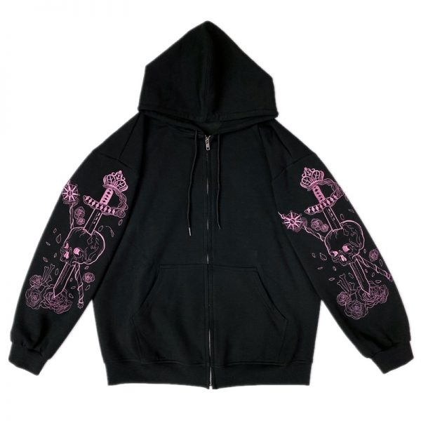 Hoodie with Gothic gothic embroidered skull 1