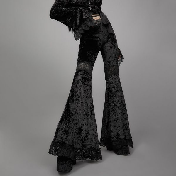 Egirl Gothic Aesthetic Flared Velvet  Pants with Lace 8
