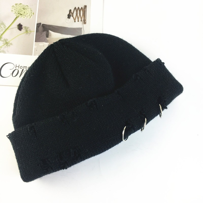 Harajuku Grunge Winter Knitted Hat with Holes, rings and pins 46