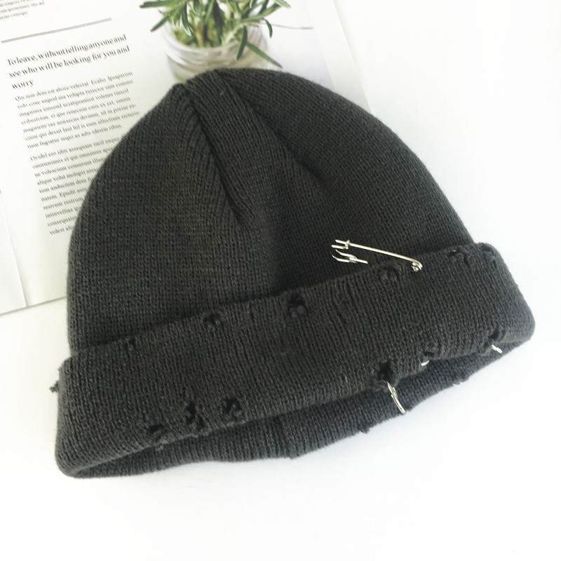 Harajuku Grunge Winter Knitted Hat with Holes, rings and pins 64
