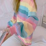 Soft Girl Harajuku Rainbow Striped T-shirt 6