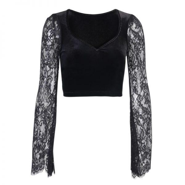 Egirl Gothic Velvet Lace Top 5