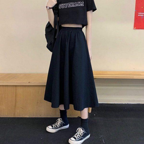 Harajuku Long Skirts A-line with elastic band 3