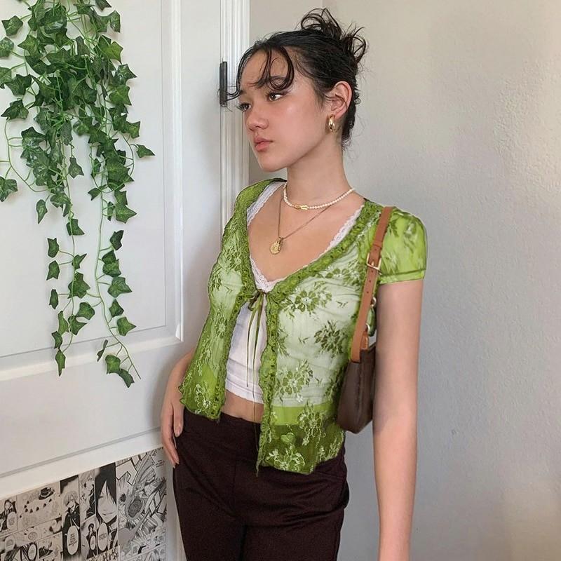 Soft girl Y2K Lace Crop Top 55