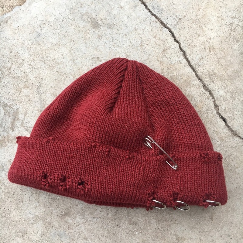 Harajuku Grunge Winter Knitted Hat with Holes, rings and pins 69
