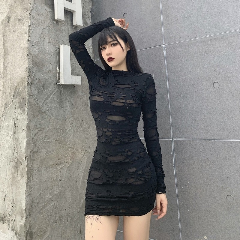 Egirl Gothiс Punk Mini Dress with holes 43