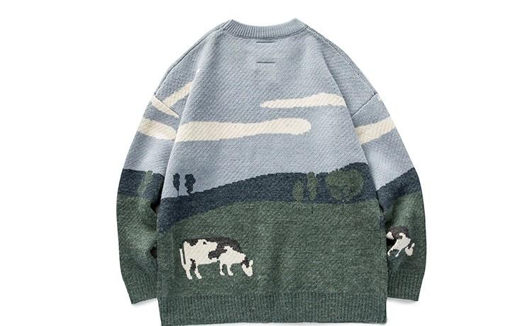 Eboy Egirl Y2K Vintage Cows print Sweaters 46
