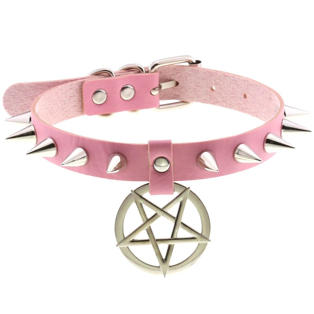 Egirl Eboy Gothic Punk Spike Choker with Pentagram pendant 45
