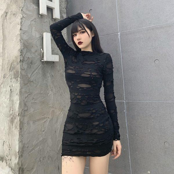 Egirl Gothiс Punk Mini Dress with holes 2
