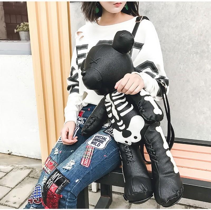 Egirl Eboy Gothic Skeleton Bear Backpack 42